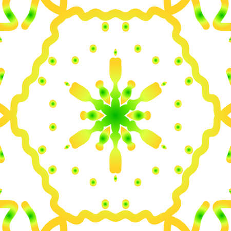Hand drawn ethnic decorative ornament in green and yellow. Illustration