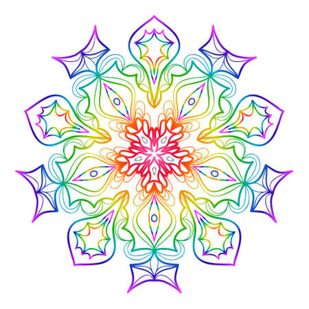 Mandala for relaxation, rainbow color illustration of rosette. Symmetrical pattern vector illustration. Imagens - 98274458