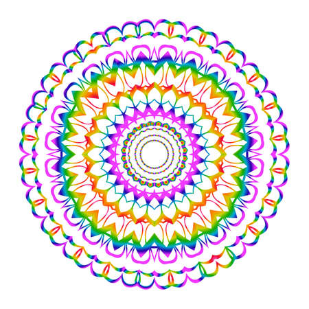 Beautiful Vector Mandala. Rainbow color on white. Vector illustration. Patterned Design Element. Illustration