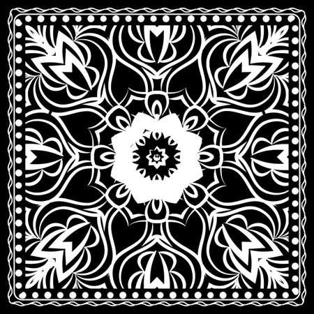Black and white Bandana Print with mandala pattern, silk neck scarf square. Design for print on fabric, pillow, carpet . Vector illustration.