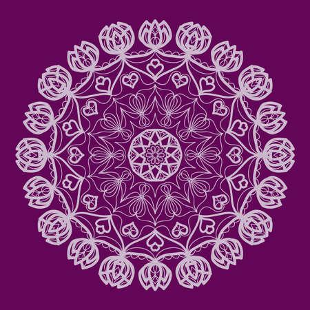 Purple color Round Ethnic Pattern. Mandala Ornament. Lacy flower Snowflake. vector illustration