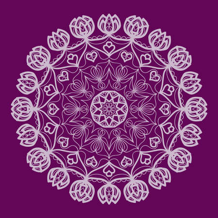 Purple color Round Ethnic Pattern. Mandala Ornament. Lacy flower Snowflake. vector illustration