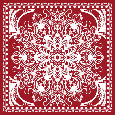 Mandala graphic background, square pattern with floral geometric ornament. vector illustration. for Bandanna fabric print, neck scarf or rug. Red color.