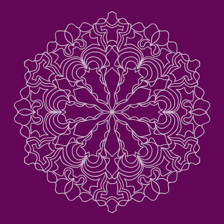 Purple round ethnic lacy snowflake vector pattern.