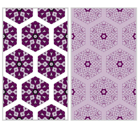 Vertical seamless patterns set, abstract floral geometric texture. ornament for interior design, greeting cards, birthday or wedding invitations, paper print. purple color