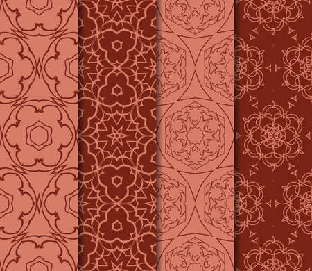 set of decorative geometric floral pattern. seamless vector illustration. for wallpaper, invitation, fabric textile. brick color Illustration