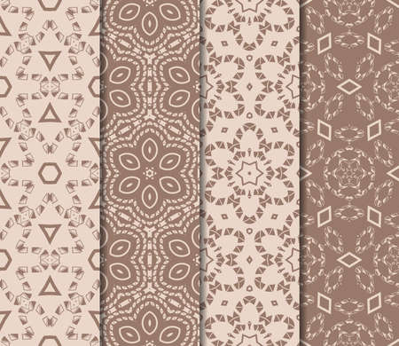 Set of beautiful seamless pattern with transformed geometric shape. abstract vector illustration. design for prnt, paper, scrapbooking. skin tone color  イラスト・ベクター素材
