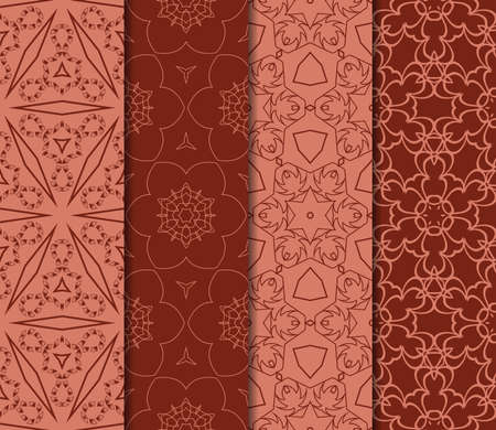 set of decorative geometric floral pattern. seamless vector illustration. for wallpaper, invitation, fabric textile. brick color Vectores