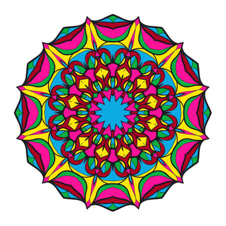 Round floral pattern. Decorative coloring Mandala. for tattoo, invitation card, yoga symbol, relax therapy. vector Illustration