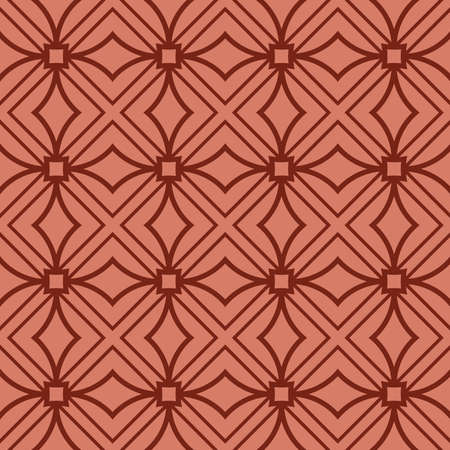 seamless geometry pattern of intersecting curved lines. vector illustration. texture for design wallpaper, pattern fills, fabric, wrapping paper. brick color