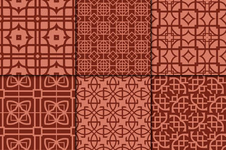 set of 6 geometric pattern. vector illustration. brick color