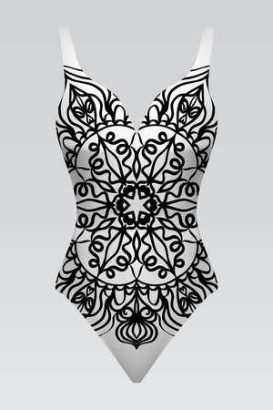 swimsuit with mandala ornament. fashion vector illustration