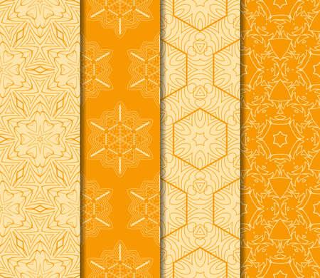 Set of Modern geometric floral seamless pattern. vector illustration. for wallpaper interior design, fashion textile print. orange color