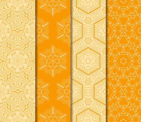 Set of Modern geometric floral seamless pattern. vector illustration. for wallpaper interior design, fashion textile print. orange color