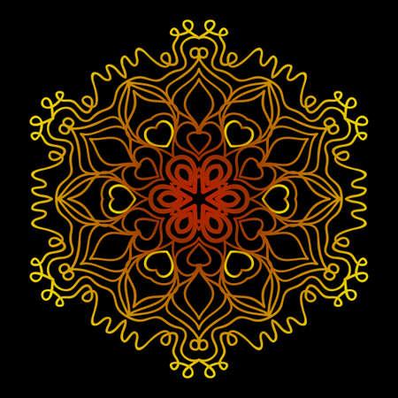 background with gold mandala on black background. vector illustration Иллюстрация