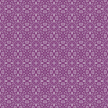 Fashion geometric seamless pattern of different geometric shapes in purple color.