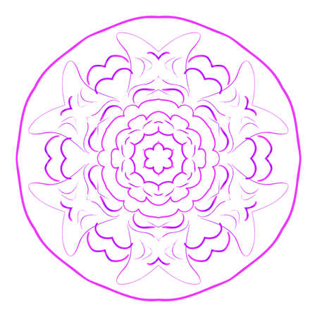 Mandala. Vector illustration. Ethnic Circle Ornament. Purple color for coloring book, greeting card, invitation and tattoo.