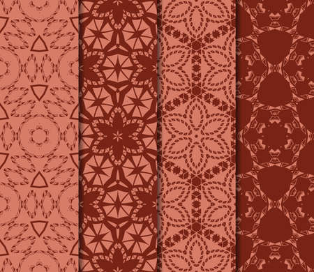 Set of 4 geometric pattern of intersecting wavy and curved lines. vector illustration.