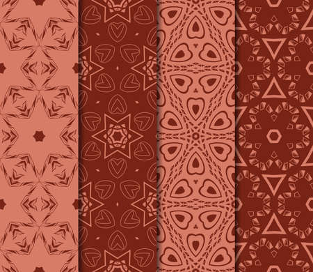 Set of 4 geometric pattern of intersecting wavy and curved lines. vector illustration. brick color Illusztráció
