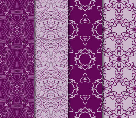 set of seamless pattern of royal purple color. vector illustration. design for wallpapers and background. Ilustrace