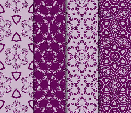 set of Modern decorative floral pattern. template. Luxury texture for wallpaper, invitation. Vector illustration. purple color 向量圖像