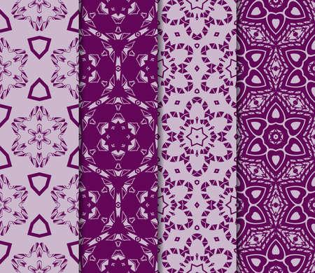 set of Modern decorative floral pattern. template. Luxury texture for wallpaper, invitation. Vector illustration. purple color Ilustração