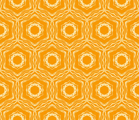 Seamless vector texture with an abstract pattern of intertwined curves, geometric figures decorated with modern floral ornament. orange color