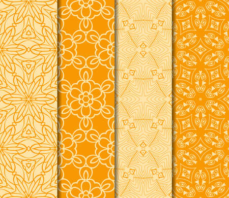 set of Geometric seamless pattern. Modern floral ornament. vector illustration. For the interior design, wallpaper, decoration print, fill pages, invitation card, cover book. orange color 向量圖像