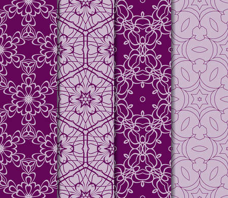 Set of seamless geometric pattern with modern floral ornament in purple colors illustration.