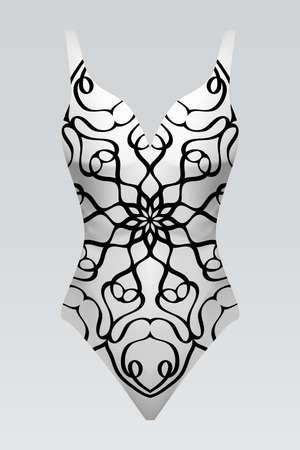 Modern fashion swimsuit illustration with floral mandala print design. Illustration