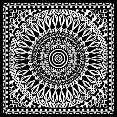 Fashion design Black and white Paisley Bandana Print with Mandala floral pattern. Vector illustration.