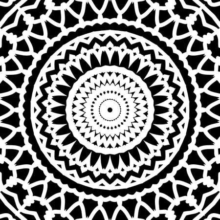 Han drawn oriental floral pattern kaleidoscope background Illustration