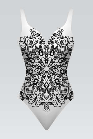 Vector fashion illustration, womens swimsuit with mandala fabric texture. Illustration