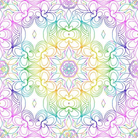 Beautiful rainbow color seamless floral pattern.
