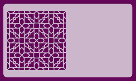 Purple business card template with cut-out geometric ornament. vector illustration