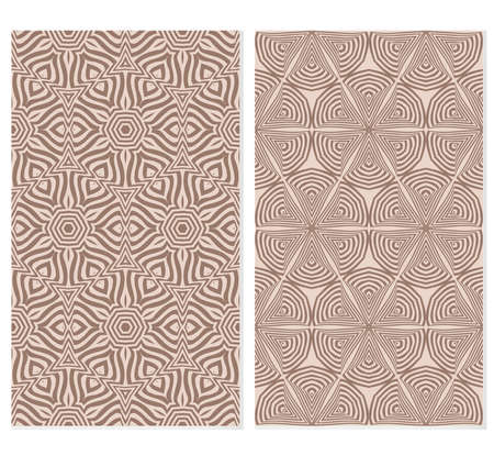 Set of illusion floral seamless pattern. vector illustration. For design, wallpaper, invitation. beige background