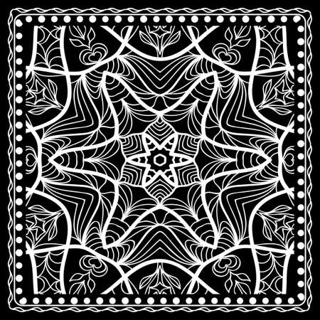 Black and white Paisley Bandana Print with Floral Pattern. Square pattern design for silk neck scarf, kerchief, pillow, carpet.