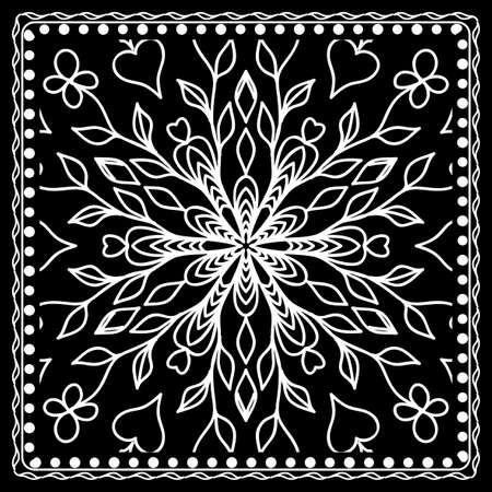 Black and white bandana print with mandala pattern, silk neck scarf square. Design for print on fabric, pillow, carpet. Vector illustration.