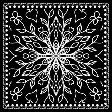 Black and white bandana print with mandala pattern, silk neck scarf square. Design for print on fabric, pillow, carpet. Vector illustration.
