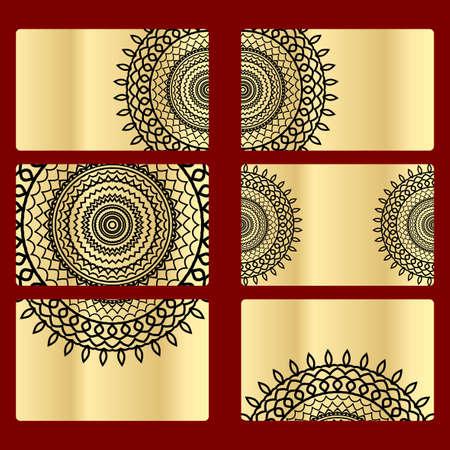 Ornament round set with mandala. Card of invitation. Hand drawn Ethnic background. Arabic, Indian, ottoman motifs. Illustration