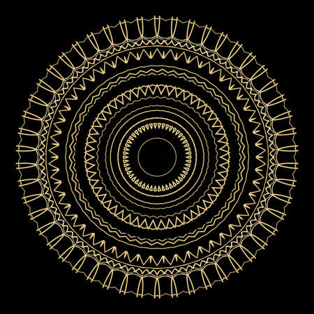 black background with gold color mandala ornament. vector illustration.