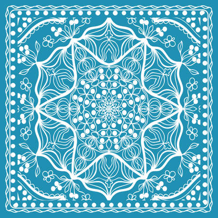 Design of the Silk Shawl Print with Geometric Flower Pattern. Vector illustration. Blue. For Print Bandanna, Shawl, Carpet