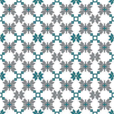 scheme for embroidery Cross stitch pattern for clothing. Mosaic seamless pattern. Ethnic ornament. vector For embroidery pattern. for the textile industry, home crafts Stock Illustratie