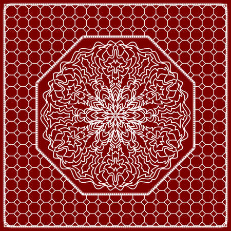 Red mandala background, geometric pattern with ornate lace frame. Vector illustration. for Scarf Print, Fabric, Covers, Scrapbooking, Bandanna, Pareo, Shawl, Carpet design. Illustration