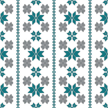 scheme for embroidery Cross stitch pattern for clothing. Mosaic seamless pattern. Ethnic ornament. vector For embroidery pattern. for the textile industry, home crafts Ilustrace