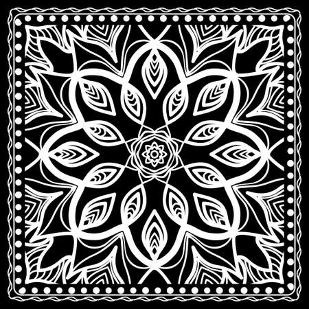 Black and white Paisley Bandanna Print with Floral Pattern. Square pattern design for silk neck scarf, kerchief, pillow, carpet. Illustration