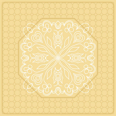 Template Print for Fabric. Pattern of Mandala with Border. Vector illustration. Golden color. For Print Bandana, Nashnoy Shawl, Carpet