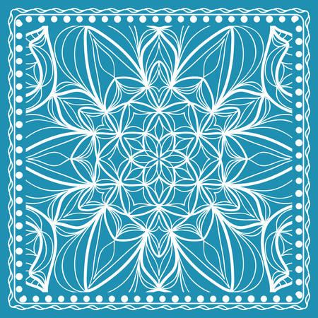Design of the Silk Shawl Print with Geometric Flower Pattern. Vector illustration. Blue. For Print Bandana, Shawl, Carpet Illustration
