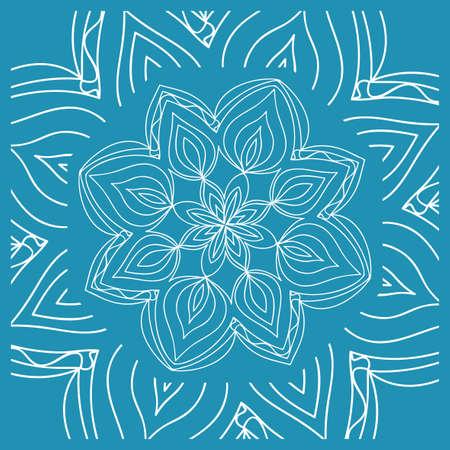 Floral Paisley Medallion Ornamental Rug. Ethnic Mandala Frame. Fabric, greeting card, coloring book, phone case print. Vector illustration. Blue color