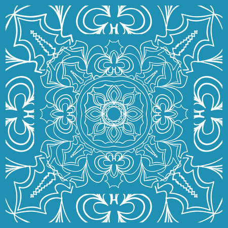 Floral Paisley Medallion Ornamental Rug. Ethnic Mandala Frame. Fabric, greeting card, coloring book, phone case print. Vector illustration. Blue color